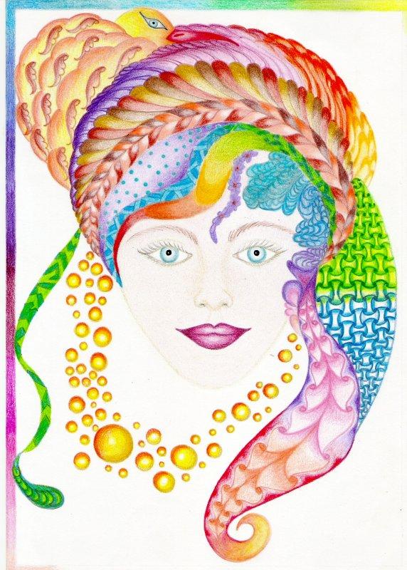 Doodle art au crayon de couleur.