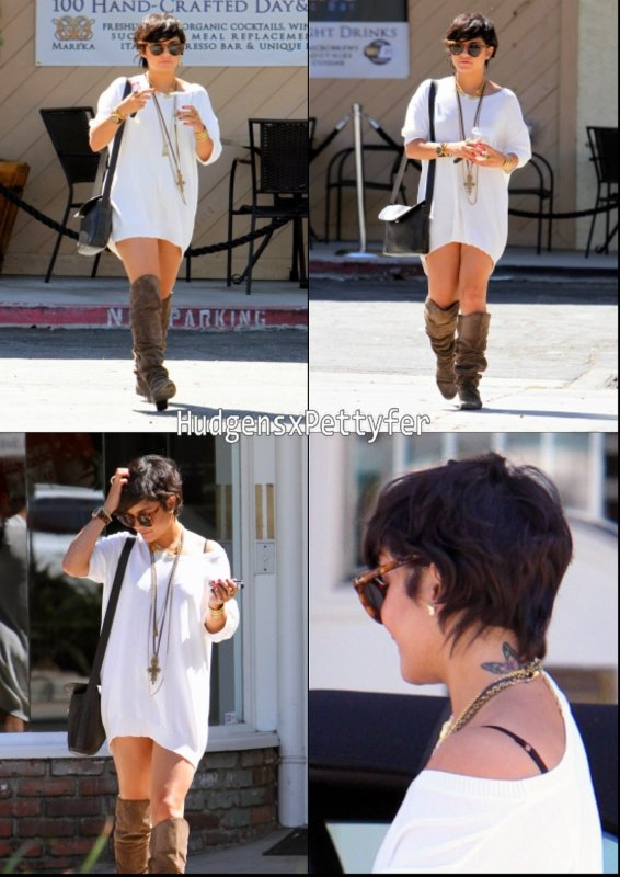 Sunday, August 22nd : Vanessa sortant de chez elle pour se rendre au restaurant The Organic Watering Hole à Studio City