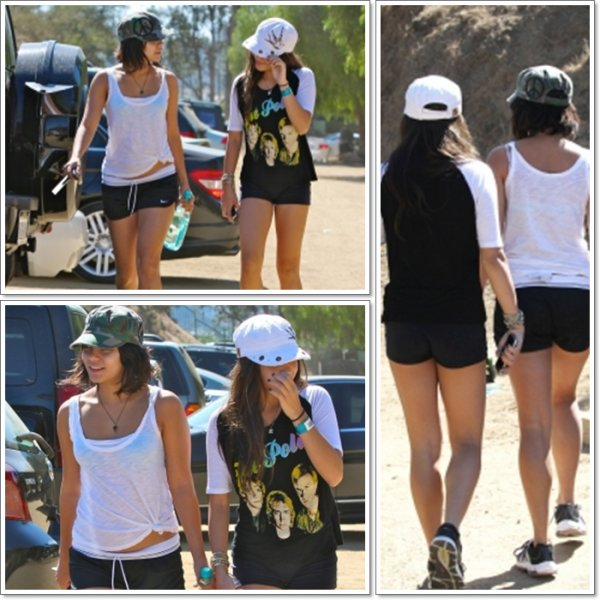Saturday, October 1st ; Vanessa à l'arrêt d'une station d'essence avant d'aller à Runyon Canyon pour un entraînement avec Stella.