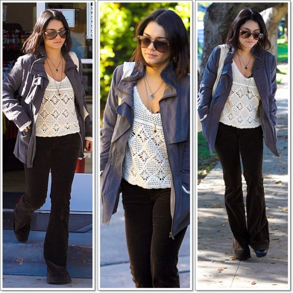 Thursday, October 6th ; Vanessa Hudgens s'arrête dans une station de gaz à Toluca Lake, Californie