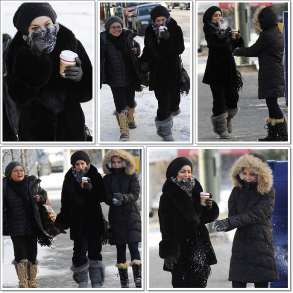 Thursday, November 17th;Vanessa accompagnée de sa mère Gina & sa soeur Stella sortant d'un café à Anchorage ( Alaska ).