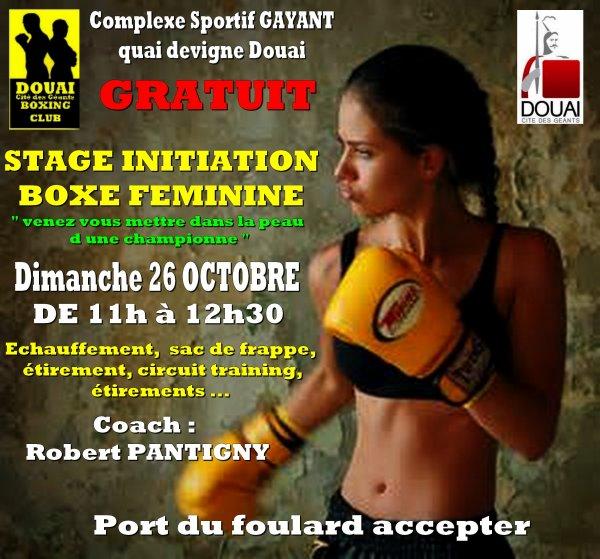 stage initiation boxe féminine GRATUIT le 26 octobre RDvous a 10h45