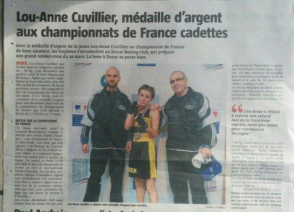 lou anne medaille d argent au championnat de france amateur cadette