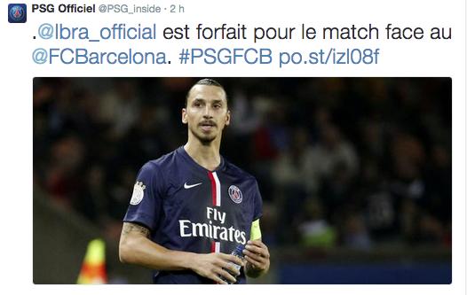 Zlatan forfait contre le Barça