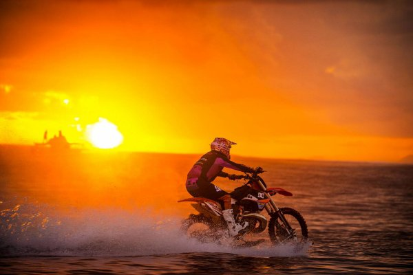 Robbie Maddison surfing the waves ..