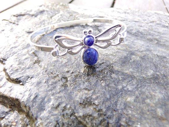 Bracelet libellule - Sodalite