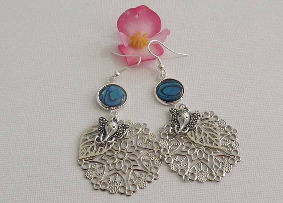Boucles d'oreilles - nacre abalone