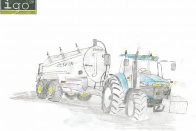 Un dessin d 39 un new holland attel un tonneau joskin le - Dessin d un tracteur ...