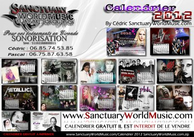 Calendrier 2012 SanctuaryWorldMusic Dispo GRATUITEMENT !!