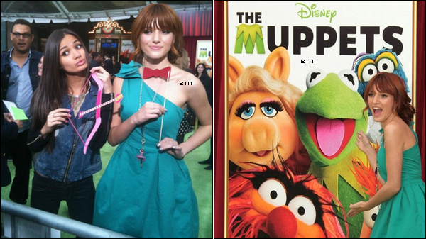 Bella et Pia Mia étaient à la première de The Muppets, un nouveau film Disney, le 12 novembre. Coté tenue : Notre miss portait une robe verte et des grandes chaussures à talon dorées. Elle s'est coiffée d'un chignon bas, laissant quelques mèches libres sur le côté. Pour moi, c'est un top, Bella est resplendissante !