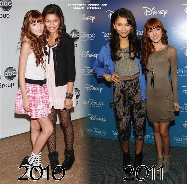 Article en collaboration entre ZendayaCoolemanSource et BellaThorneNews : Trouvez-vous que Bella et Zendaya ont beaucoup changé entre 2010 et 2011 ? En quelle année les avez-vous préférées ?
