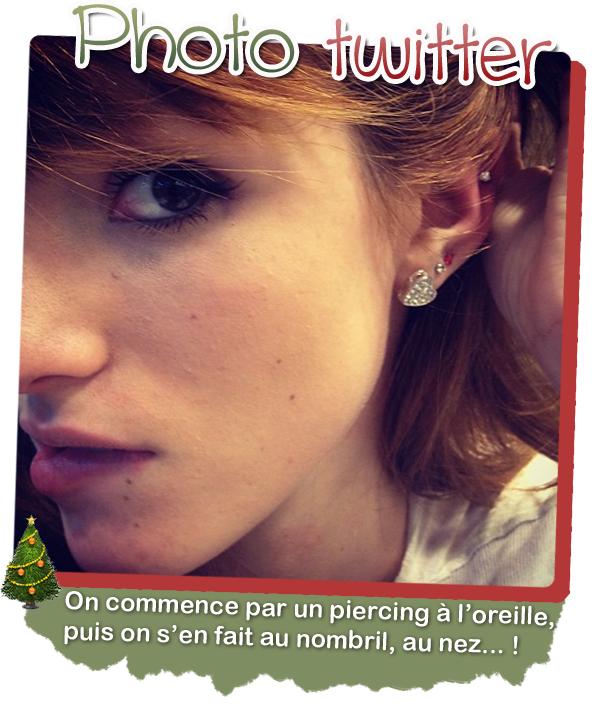 Bella s'est fait un piercing en haut de l'oreille le 21/12/2011.
