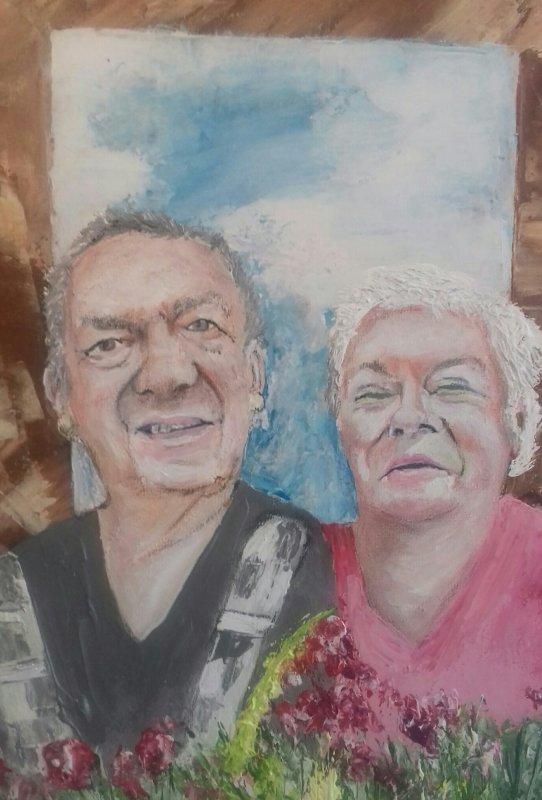 portraits  50x50   deja   vendu   en acrylique