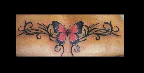 Papillon effet tribal dom tattoo 76580 le trait 06 81 78 - Tribal papillon ...
