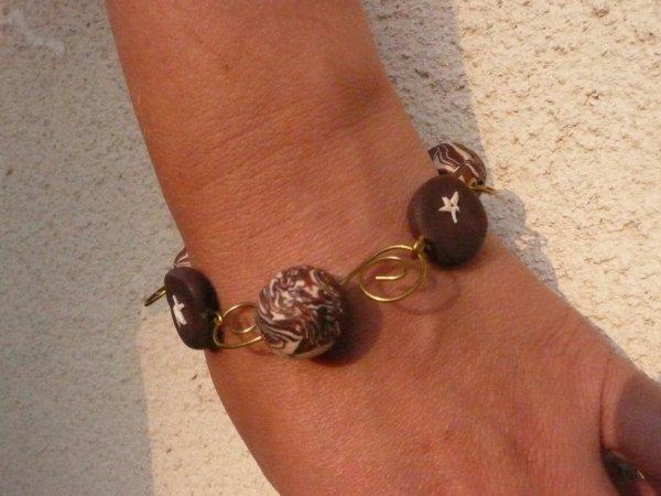 bracelet grosses perles marron