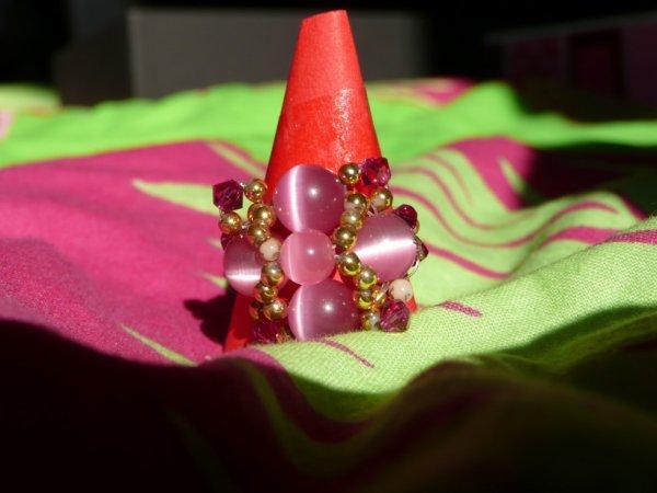 bague en perles swarovski rose