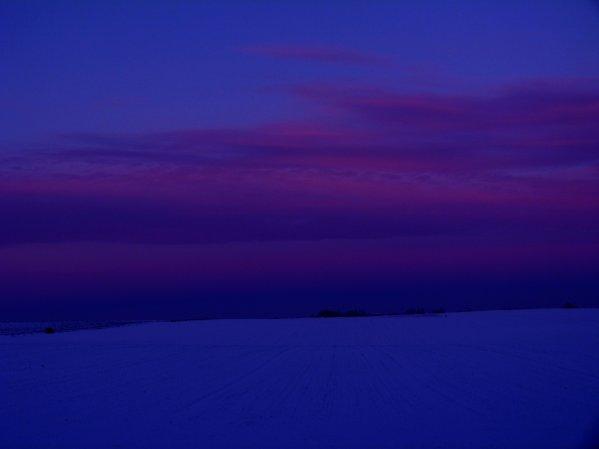 coucher de soleil sous la neige !