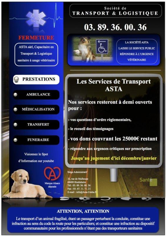DÉCLARATION DE FERMETURE DES SERVICES DE SECOURS ASTA sàrl