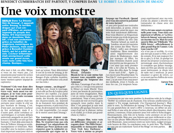 Article spécial The Hobbit 2 avec interview de Benedict Cumberbatch