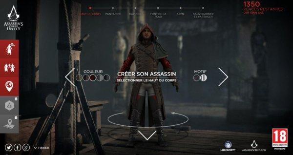 Créez votre personnage Assassin's Creed Unity