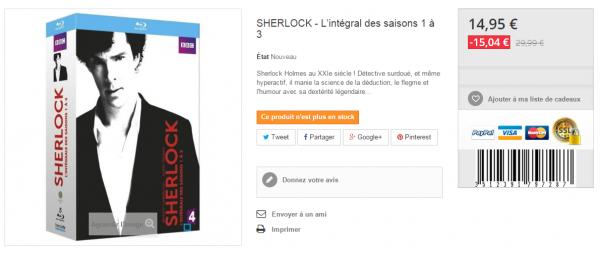 Offre Belgique : l'intégrale des saisons 1 à 3 de la série Sherlock à 15 ¤