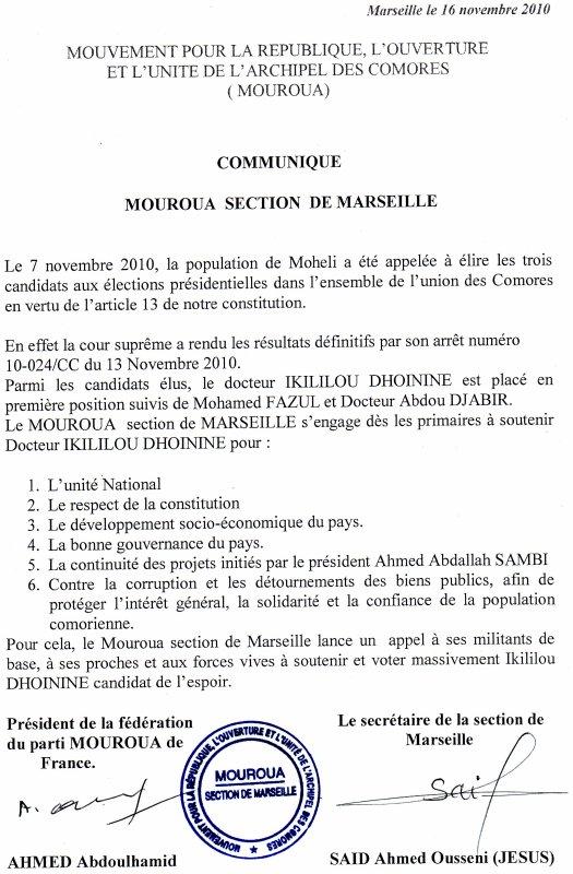 MOUVEMENT POUR LA REPUBLIQUE, L'OUVERTUREET L'UNITE DE L'ARCHIPEL DES COMORES ( MOUROUA)