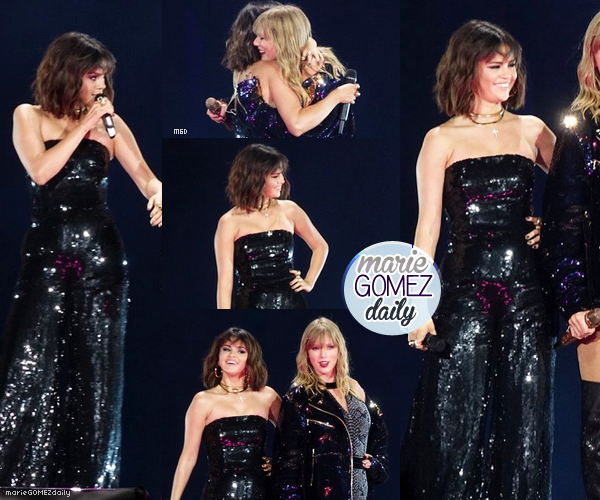 • 19/05/2018 : Selena gomez était sur scène à la tournée du Réputation Tour de Taylor Swift à Pasadena. Côté tenue : Désolé pour la qualité des photos qui n'est pas top mais globalement je trouve que la robe à paillettes de Selena lui va bien. Elle met en valeur ses formes et sa coiffure est très mignonne. TOP.