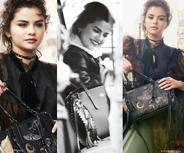 • 02/07/2018 : Selena Gomez posait pour la nouvelle collection de sac Coach' pour la saison Hiver 2018. Mon avis : Je trouve que le photoshoot est superbe ! Selena est très photogénique dessus. Les photos sont de qualités et j'aime les couleurs. TOP.