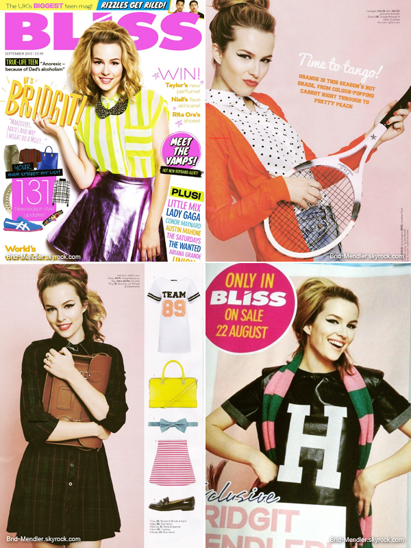 Bridgit fait la couverture du magazine Bliss de Septembre 2013