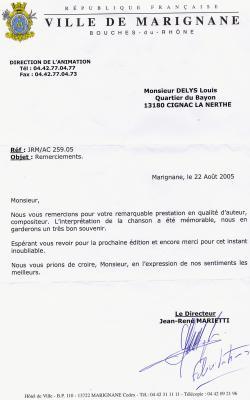 lettre de remerciements de monsieur Marietti   BIENVENUE DANS LE