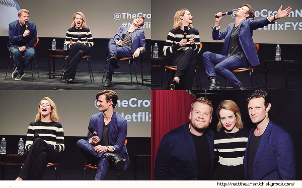"""•••  EVENT  Matt et Claire, à la conférence """"The Crown"""" par Netflix orchestrée par James Corden , le 24 mai 2017     J'aime beaucoup revoir Matt en compagnie de James Corden qui a jouer en sa compagnie dans Doctor Who !"""