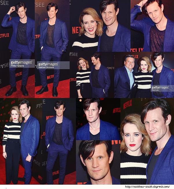 """•••  EVENT  Matt et Claire Foy, à l'événement """"The Crown"""" par Netflix, le 24 mai 2017        Matthew est parfait comme d'habitude, j'adore son costume, chaussures et tee shirt, moins l'ensemble des couleurs bleu et noir."""