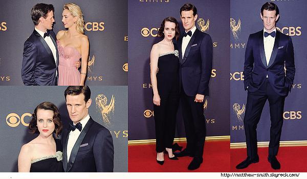 •••  EVENT  Matt, Claire Foy et Vanessa Kirdy au The 69th Emmy Awards 2017, le 17 Septembre 2017         Cet événement signe le retour du noeud pap' et franchement j'adore ! Matt le porte vraiment très bien. Ma  photo favorite est la huitième.