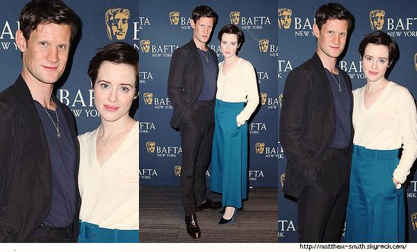 •••  EVENT Matt et Claire BAFTA à New York pour la saison 2 de The Crown , le 03 Décembre 2017             Une fois de plus peu de photos disponibles. En ce qui concerne Matt il est top même avec cette tenue très simple.