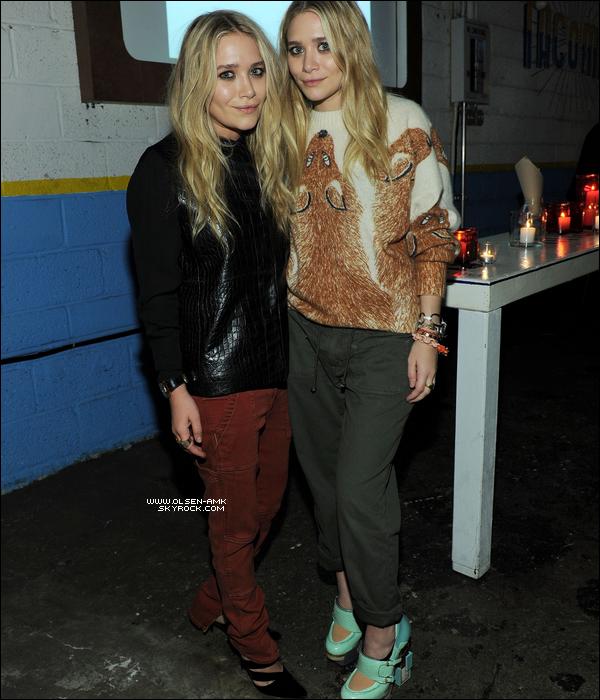 .  Mercredi 2 février : Ashley (à droite) et Mary-Kate (à gauche) se sont rendus au Textile de leur marque Elizabeth & James à Tacombi, NY.  .