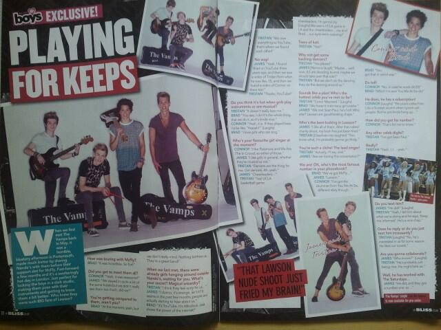 The Vamps dans Bliss 100% Boys Magazine