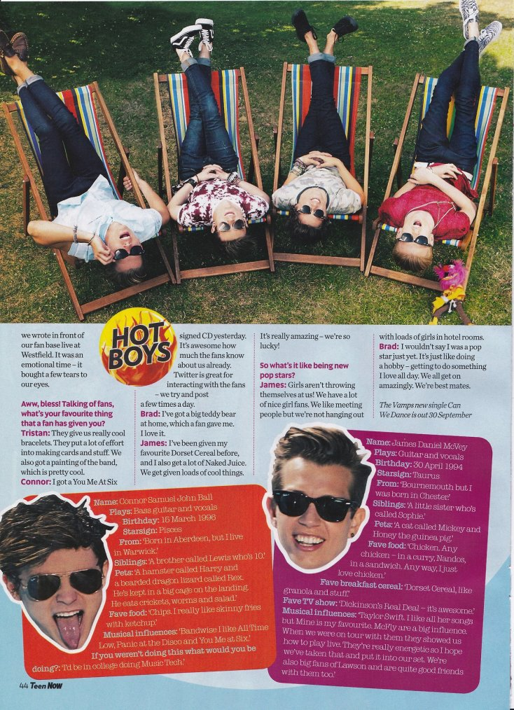 "The Vamps dans le magazine ""Teen Now"""