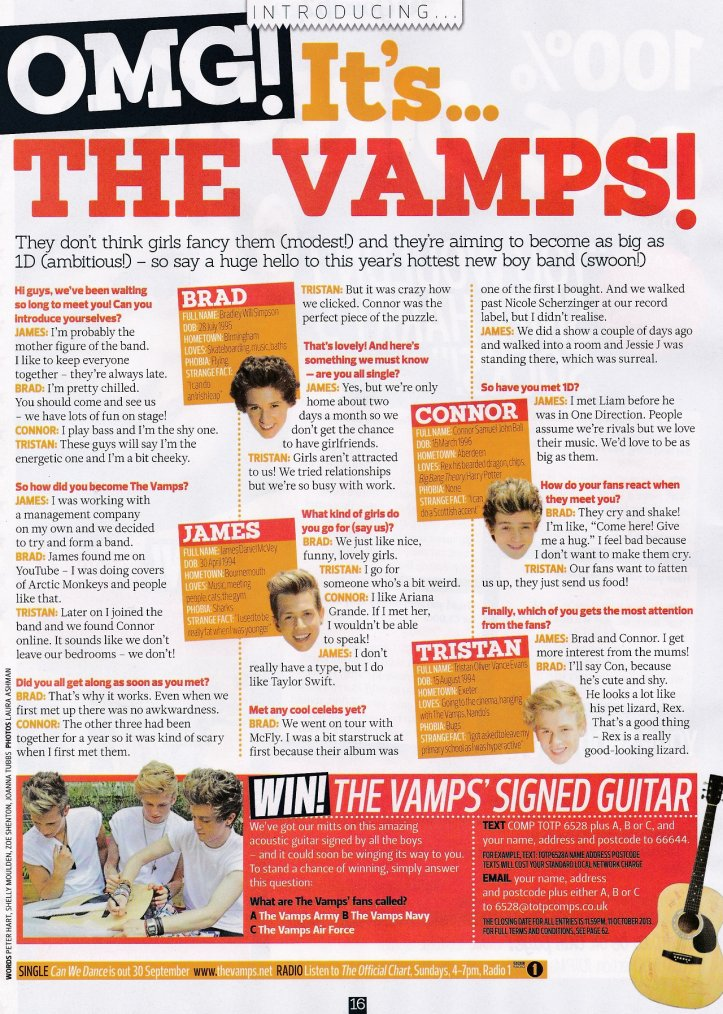 "The Vamps dans le magazine ""Top Of The Pops"""