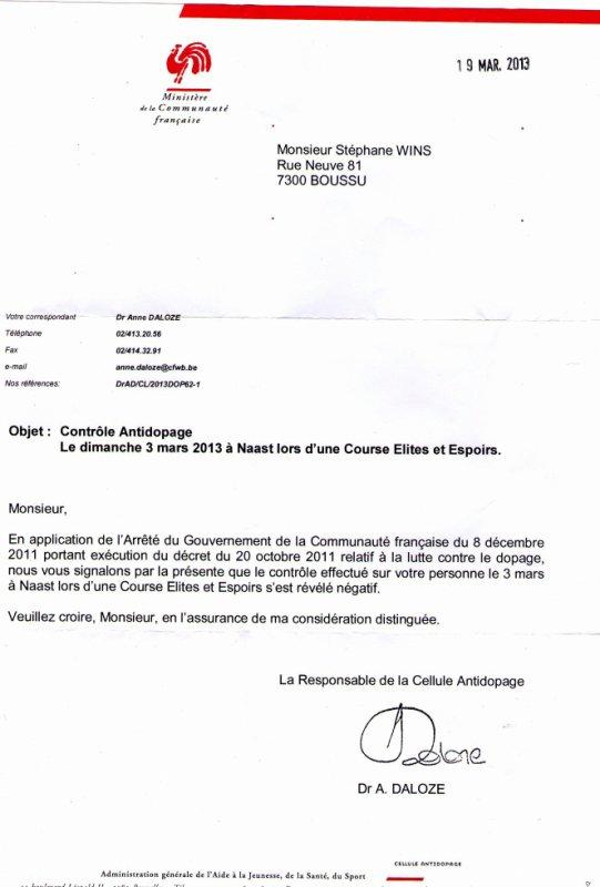 contrôle anti-dopage 03/03/2013