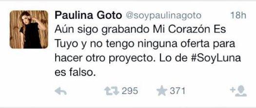 Confirmé  par Paulina Goto !! elle ne jouera pas dans Soy Luna et ni l'actrice principale Remixé !