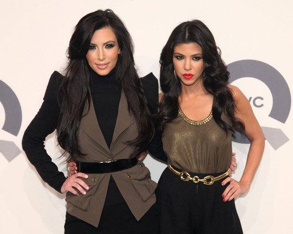 Kim and her sister Kourtney, attend the QVC 25 to watch party