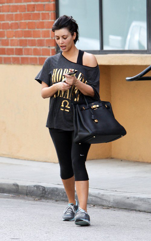 Kim was spotted post workout in Studio City with Molly Sims (03/17)
