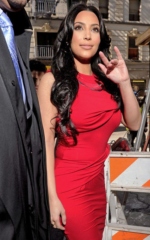 "Kim was spotted outside Fox 5 Studios in New York City "" Good Day New York "" (04/14)"