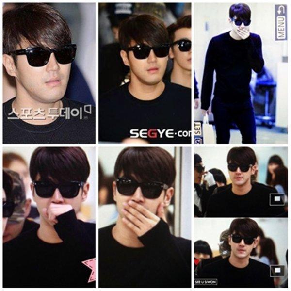 Siwon arrivant à l'aéroport de Gimpo ( Corée ) le 7 Octobre 2014