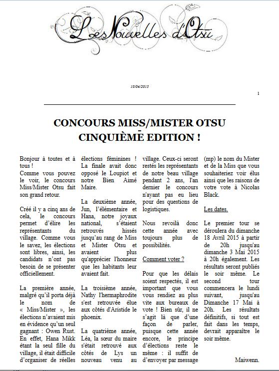 Concours Miss/Mister Otsu ! Cinquième Edition !