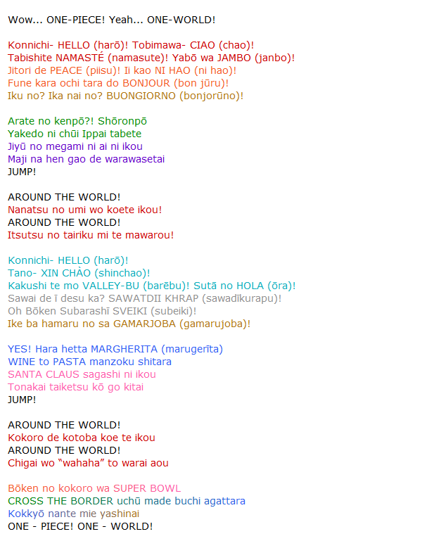 One Piece Musique ~ ONE WORLD