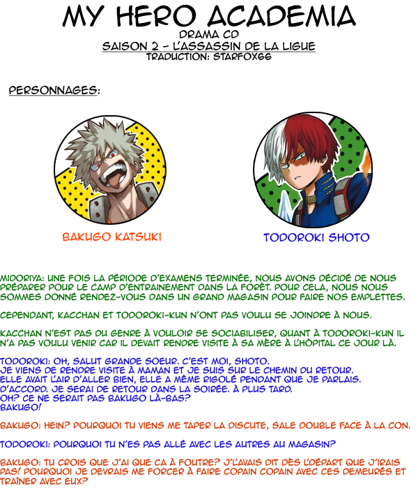 My Hero Academia Drama CD - Saison 2, la mésaventure de Bakugo et Todoroki
