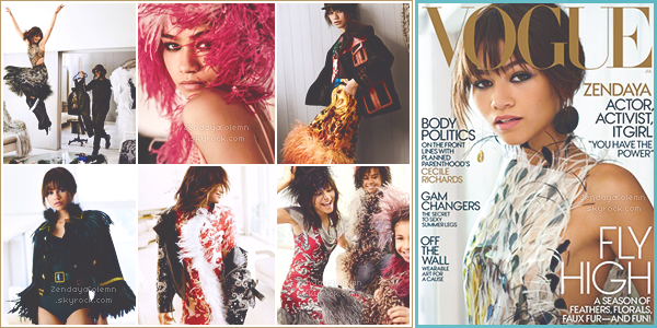 Zendaya Coleman en couverture pour le magazine VOGUE US du mois de Juillet 2017.