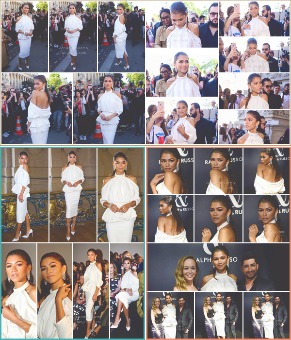 Le 03/07/17, Zendaya a été vue arrivant au défilé Ralph and Russo collection 2017/2018 durant la fashion week haute couture puis quittant le show - Paris.
