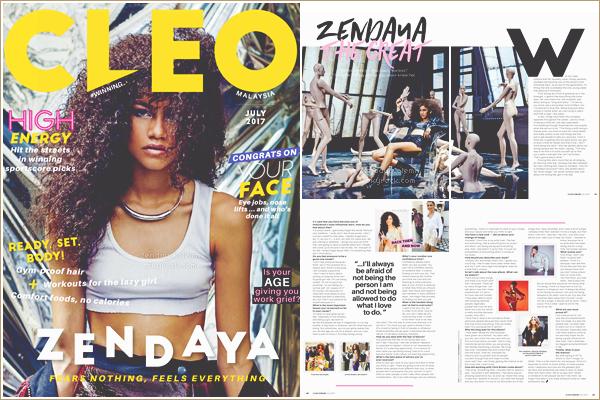Zendaya Coleman pour le magazine Cleo Malasya du mois de Juillet 2017 !